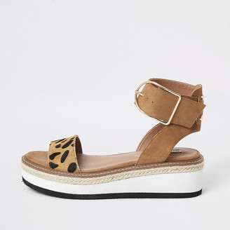 River Island Brown leopard print two part flatform sandals