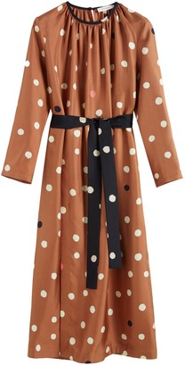 Chinti and Parker Ginger Painted Spot Silk Dress