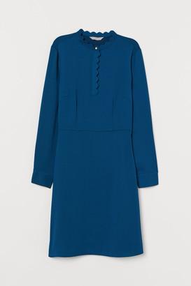 H&M Scalloped-edge Dress - Blue