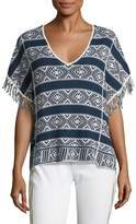 Velvet by Graham & Spencer Women's Knit Cotton Fringe Sleeve Top