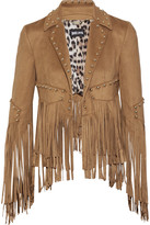 Just Cavalli Studded fringed faux suede jacket
