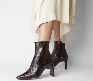 Office Alaya Smart Boots Burgundy Croc Leather