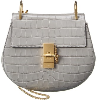 Chloé Drew Croc-Embossed Leather Shoulder Bag