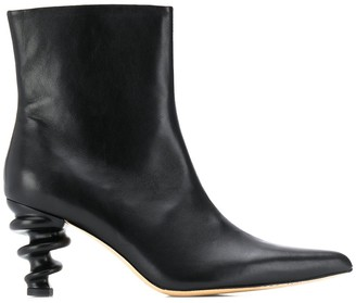 Kalda Structured Heel Ankle Boots