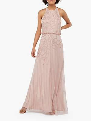 Monsoon Bianca Embellished Maxi Dress, Pink