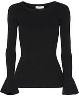 MICHAEL Michael Kors Ribbed Stretch-knit Sweater - Black