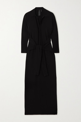 Norma Kamali Tie-front Stretch-jersey Maxi Dress - Black