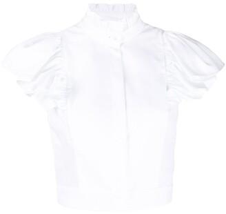 Alexander McQueen Cropped Ruffle Sleeve Blouse