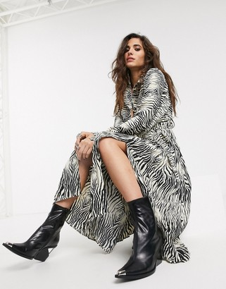 Object pleated maxi shirt dress in animal print