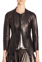 Alexander McQueen Leather Peplum Jacket