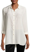 Eileen Fisher Long Essential Silk Crepe Shirt, Petite