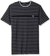 Fred Perry Pique Stripe Crew Neck Cotton Navy T-Shirt