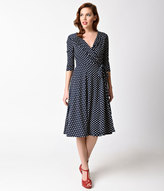 Unique Vintage 1940s Style Navy Blue & Ivory Dotted Kelsie Wrap Dress