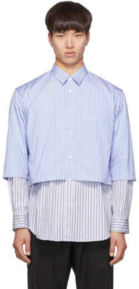 Comme des Garcons Blue and White Striped Layered Shirt