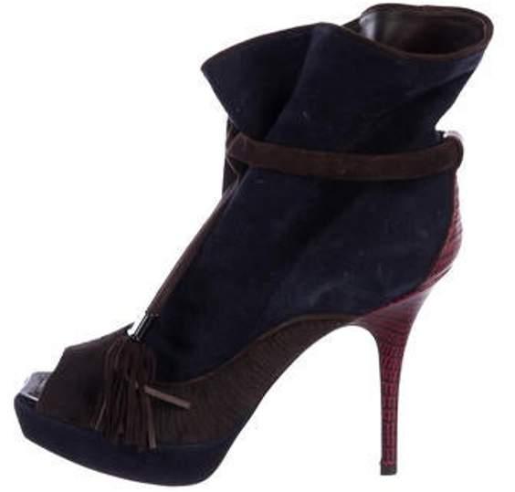 a1ec4d0876d Suede Peep-Toe Ankle Boots Navy Suede Peep-Toe Ankle Boots