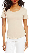 Ruby Rd. Scoop Neck Short Sleeve High-Low Rib Knit Solid Top
