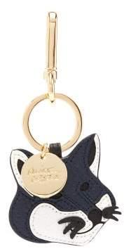 MAISON KITSUNÉ Fox Head Leather Key Ring - Mens - Navy