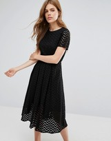 YMC Zig Zag Sheer A Line Midi Dress