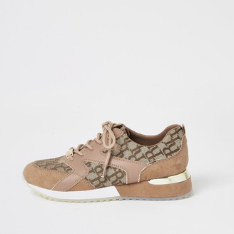 River Island Girls Brown RI panelled lace-up trainers