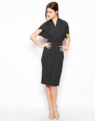 Asos Design Pencil Dress In Crepe With V Neck-Black