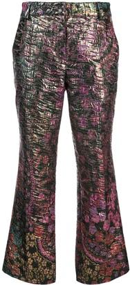 Josie Natori Jacquard Kick Flare Trousers