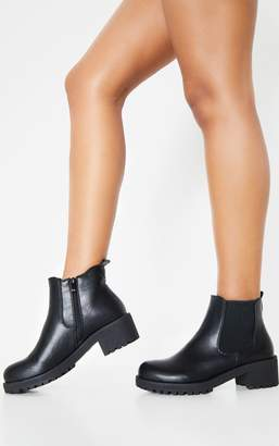 PrettyLittleThing Black Low Heel Cleated Chelsea Ankle Boots