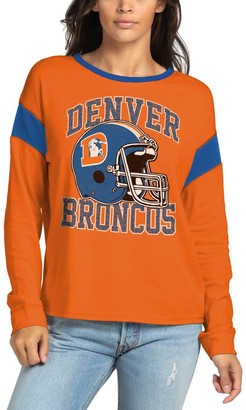 Women's Junk Food Orange Denver Broncos Big Logo Long Sleeve T-Shirt