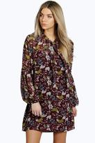 Boohoo Lara Tie Neck Puff Sleeve Floral Shirt Dress