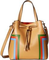 Tory Burch Block-T Stripe Micro Drawstring Crossbody Cross Body Handbags