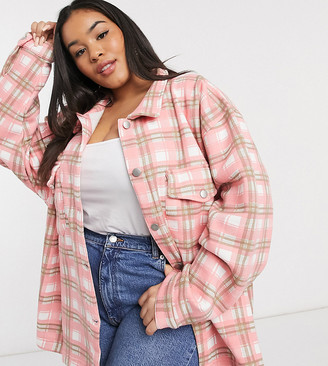 Lasula Plus oversized brush check shirt in pink multi