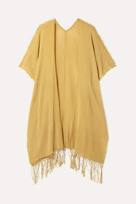 Caravana - Holom Fringed Cotton-gauze Cape - Yellow