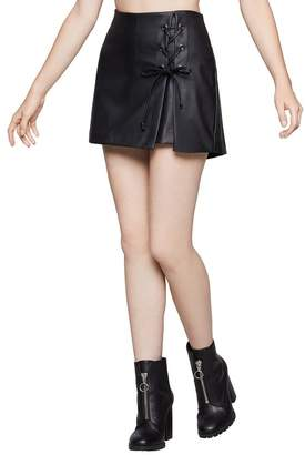 BCBGeneration Faux Leather Lace-Up Skort