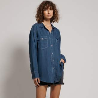One Teaspoon Oneteaspoon - Blue Fabric Rodeo Tencel Liberty Shirt. 22153 - small | blue | Fabric - Blue/Blue
