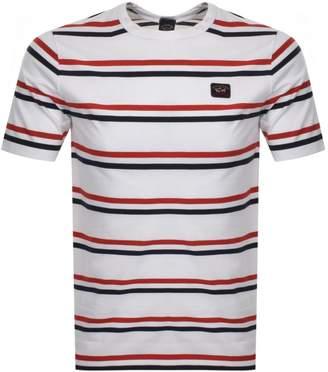 Paul & Shark Paul And Shark Striped Logo T Shirt White
