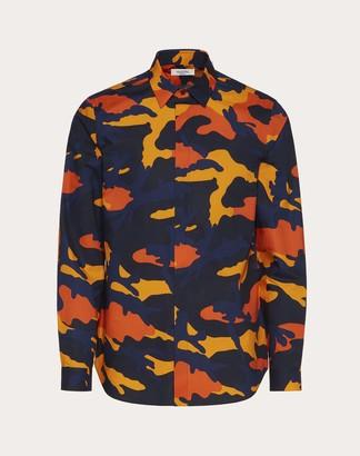 Valentino Camouflage Shirt Man Navy Camo/orange 100% Cotone 38