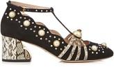 Gucci Ofelia embellished suede and elaphe pumps