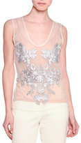 Stella McCartney Sleeveless Floral-Embroidered Top, Natural