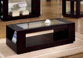 Candace & Basil Coffee Table - Cappuccino Veneer With Glass Insert