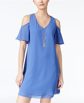 Amy Byer Juniors' Cold-Shoulder Necklace Dress