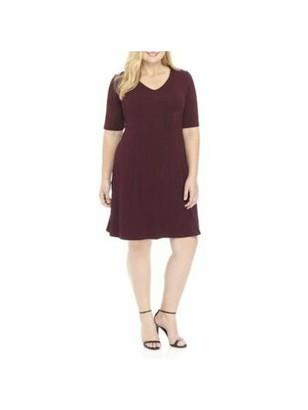 Connected Apparel Womens Burgundy Short Sleeve V Neck Short Sheath Cocktail Dress Plus US Size: 18W