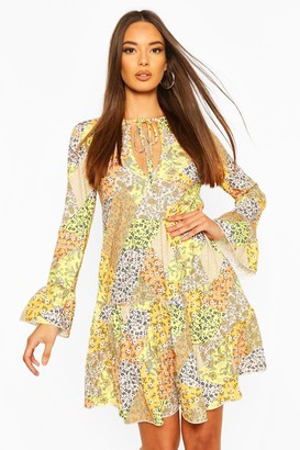 boohoo Patchwork Floral Tiered Gypsy Dress