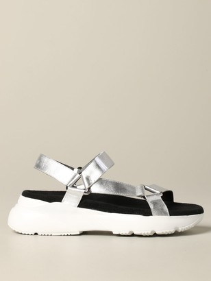 Hogan Sneakers Sandal In Laminated Leather With Active One Sole