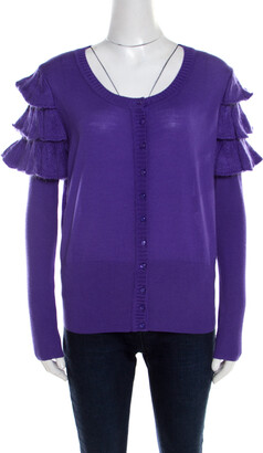 Escada Purple Mohair Wool Ruffle Tiered Detail Button Front Cardigan L
