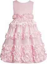 Bonnie Jean Girls Dress, Little Girls Satiny Rosette Flower Girl Dress