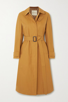 Max Mara The Cube Belted Gabardine Trench Coat - Gold
