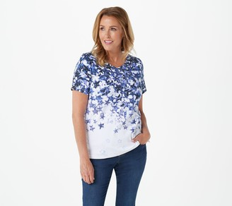 Quacker Factory Printed Star T-Shirt with Rhinestones
