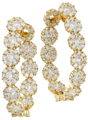 Hueb Diamond Flower 18K Yellow Gold & Diamond Hoop Earrings