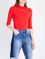 Mo&Co. Run-embroidered stretch-knit top