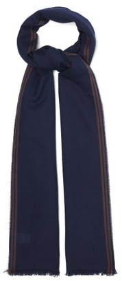 Brunello Cucinelli Jacquard-striped Cashmere-blend Twill Scarf - Blue