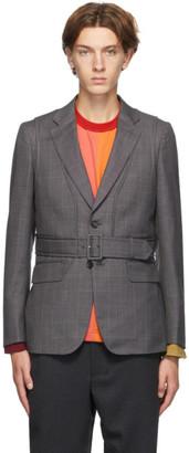 Comme des Garçons Homme Deux Grey Wool Check Belted Blazer